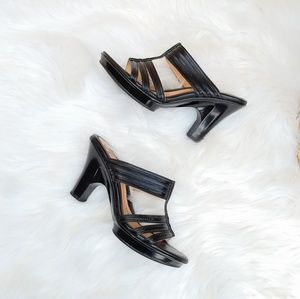 Sofft black leather heeled sandals